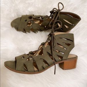LIKE NEW Olive Green Cut Out Heeled Sandals